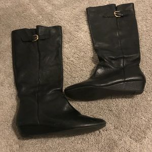 Steve Madden Intyce Black Leather Boots Size 8.5